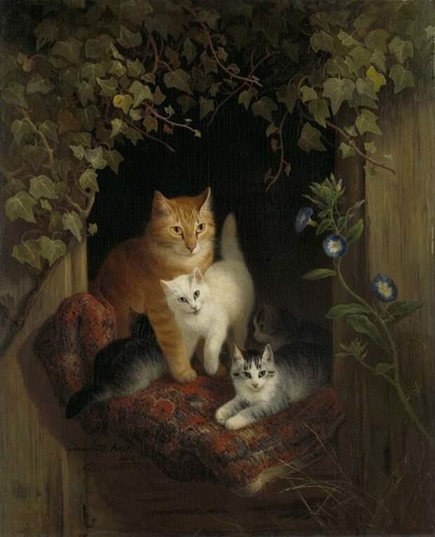 Кошка с котятами. 1844