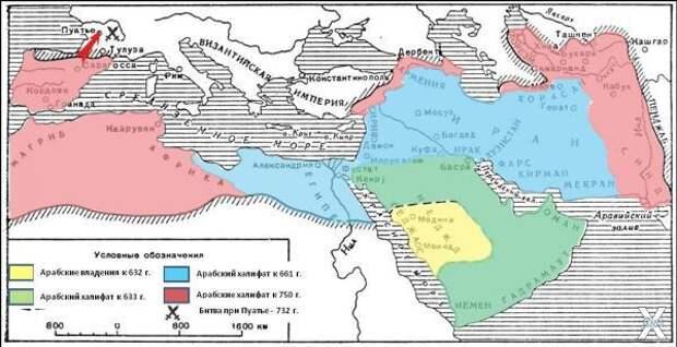Карта Халифата. Желтым - сразу после ...