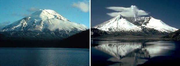 Так выглядела гора Святой Елены до извержения (слева) и и так выглядит теперь