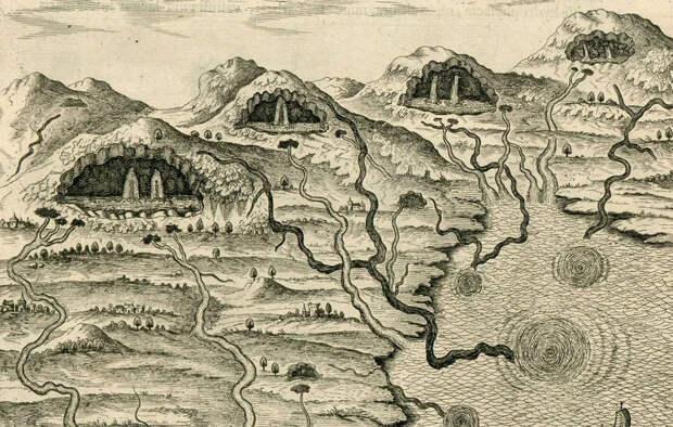 Модель строения Земли 17 века от Афанасия Кирхера: подземные моря и полые холмы