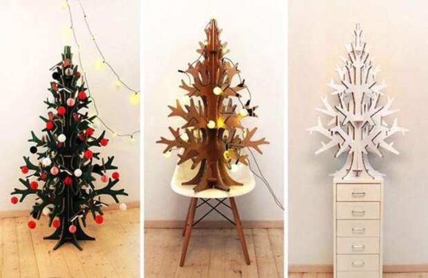 Вырезанные из картона ёлки легко устанавливаются и радуют вас на протяжении всей зимы.