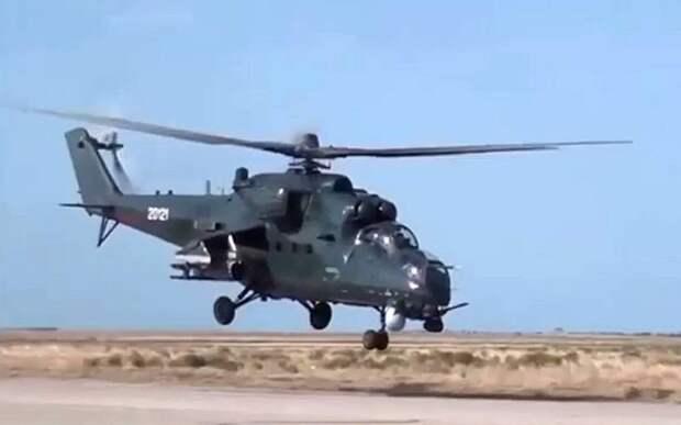 Опубликовано видео работы азербайджанских Ми-35 по армянским позициям