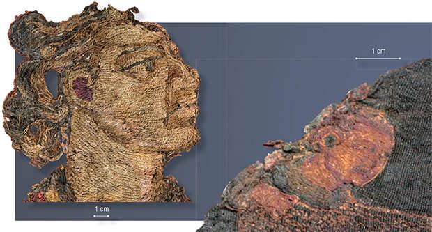 Лицо воина – зороастрийца (слева). Фрагмент вышитой шерстяной завесы. 31-й ноин-улинский курган. Увеличенное лицо охотника на лань (справа). Деталь вышивки на шелковой ткани. 20-й ноин-улинский курган