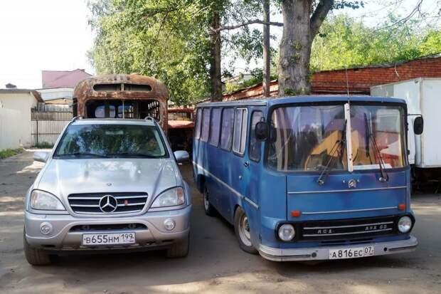 Мини-Икарус и обычный Мерседес ML АКХ-60, авто, автобус, икарус, олдтаймер, ретро техника, самоделка, самодельный автомобиль