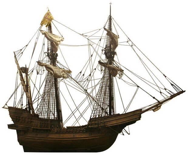 Модель венецианского галеона, построенного Матео Брессаном в 1526–1530 годах. Признанный «достойным повторения», галеон был обмерян при сдаче его на слом в 1547 году: длина корпуса между перпендикулярами составляла 47,2 м, длина по килю — 34,8 м, наибольшая ширина — 13,1 м. На модели три мачты, хотя в истории говорится о четырёх - Превеза: наступление, «обращённое в ничто» | Warspot.ru
