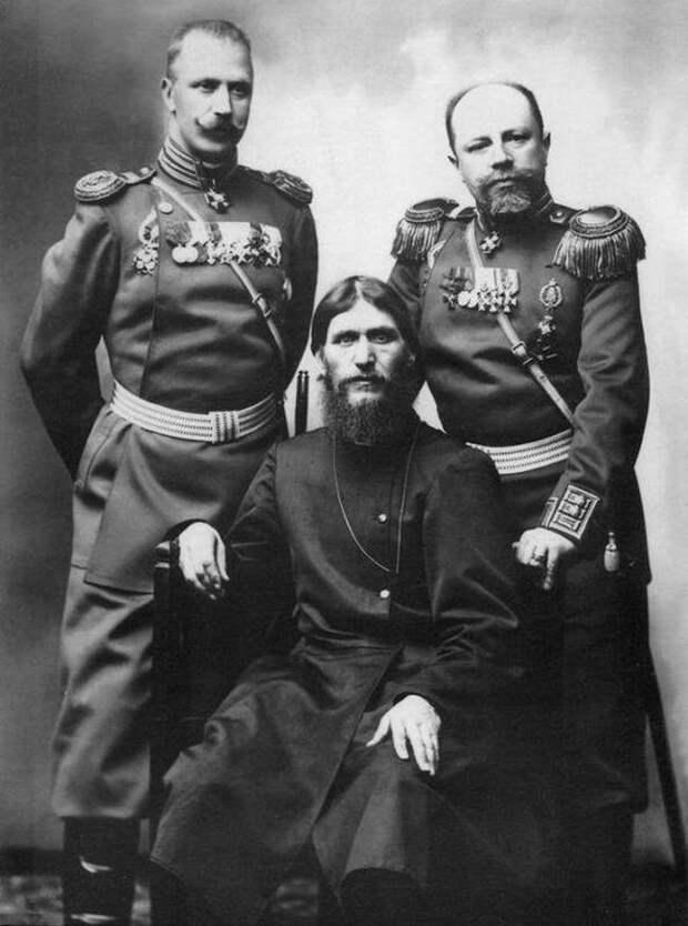 Распутин, генерал-майор Путятин и полковник Лотман, Российская империя, 1904 год. Весь Мир, история, фотографии