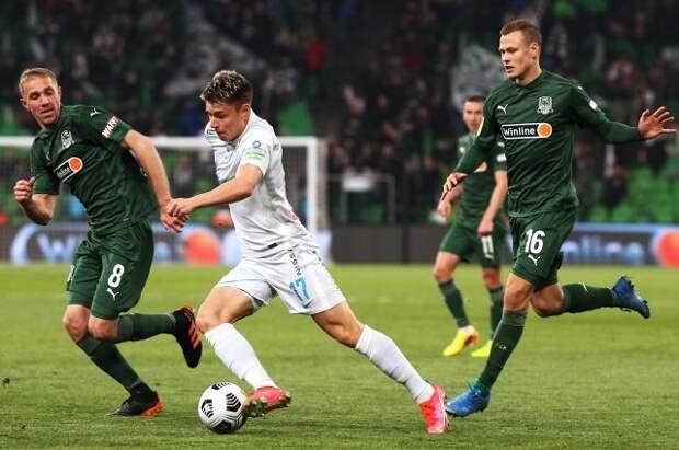 «Зенит» и «Краснодар» сыграли вничью в матче чемпионата России по футболу