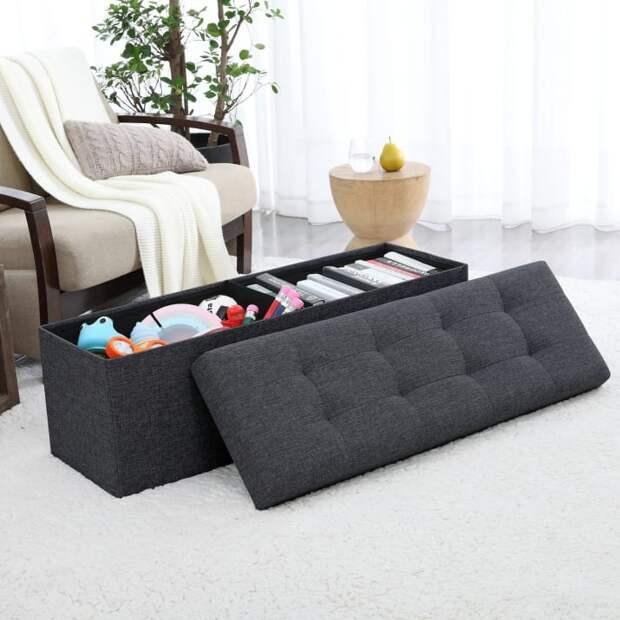 Использование банкетки в спальне для хранения