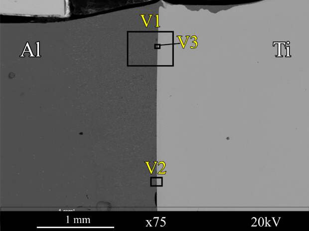 Структура соединения, полученного после смещения лазерного луча на1 мм