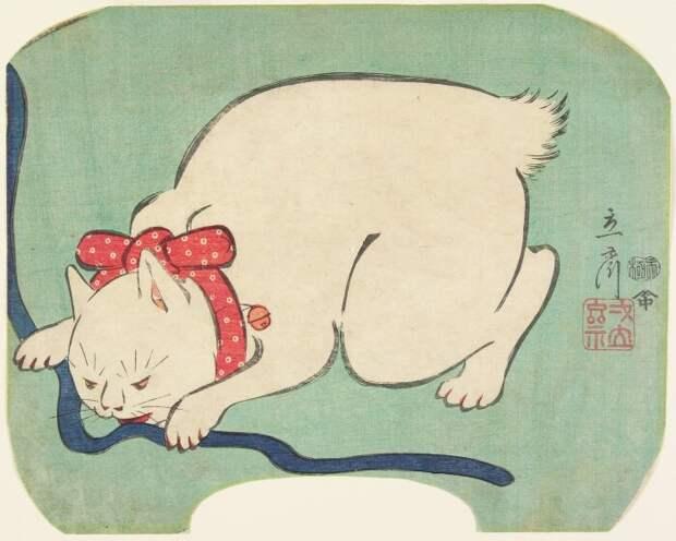 Хиросигэ II – Белый кот, играющий со шнурком. \ Фото: collections.artsmia.org.