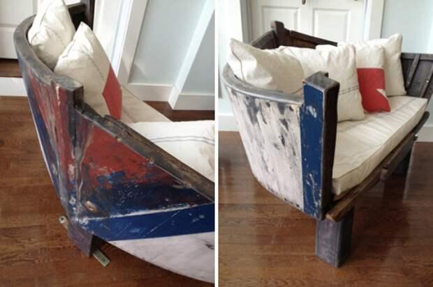 Лодка на даче мебель из лодки