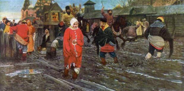 А.П. Рябушкин. Московская улица XVII века в праздничный день