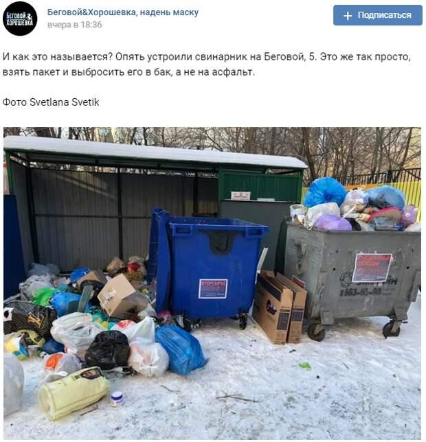 Неизвестный устроил мусорный переворот на Беговой улице