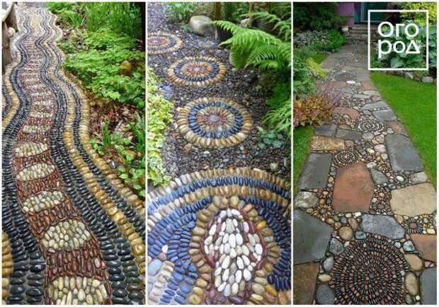мозаика из гальки, садовая дорожка