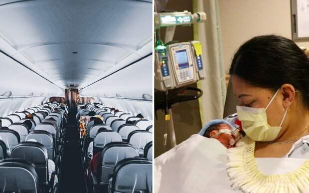 Женщина зашла в самолет одна, а вышла с ребенком: он родился прямо на борту