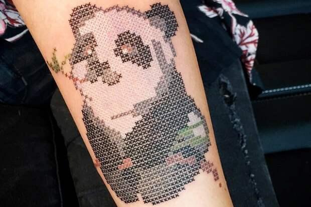 рукав вышивка крестиком на руке татуировка тату