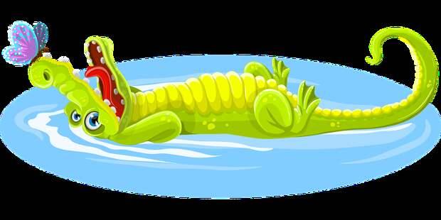 Крокодил, Бабочка, Животных, Счастливы, Счастье