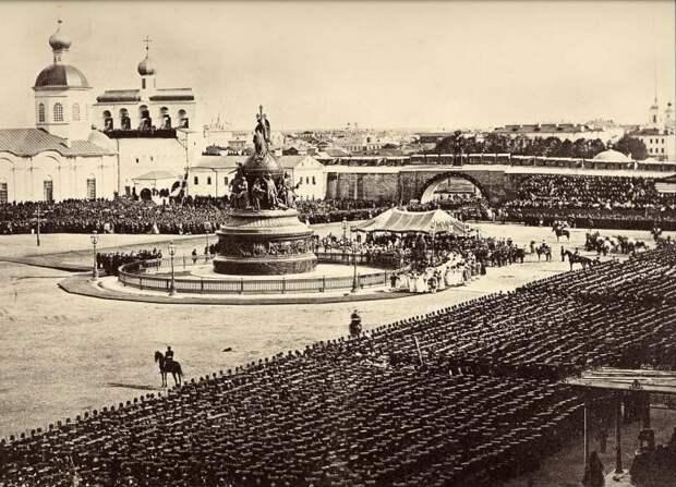 Открытие памятника «Тысячелетие России» (1862) дореволюционные снимки, интересно, кадр, россия, факты, фото