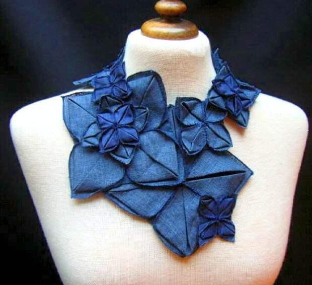Джинсовое ожерелье оригами
