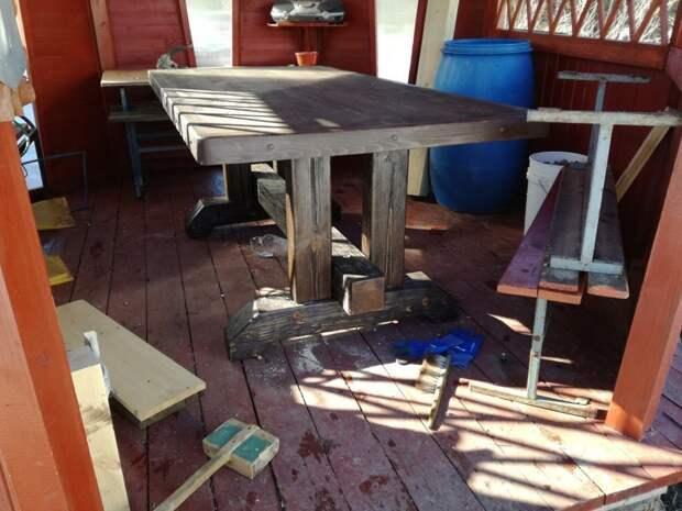 Стол, стулья и трон в беседку своими руками рукожопие, своими руками, стол