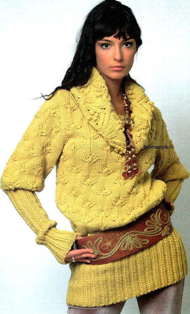 Горчичный свитер спицами