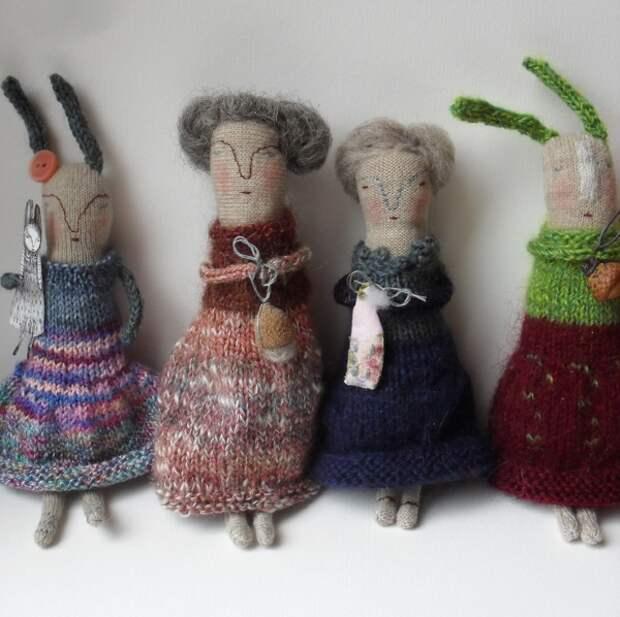 Уникальные куклы- броши из текстиля