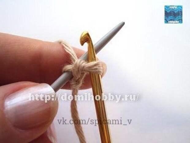 Легкий и быстрый набор петель на одну спицу с помощью крючка