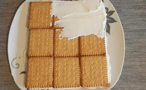 Торт без теста, коржей и выпечки: кладем слой печений и начинаем делать слои