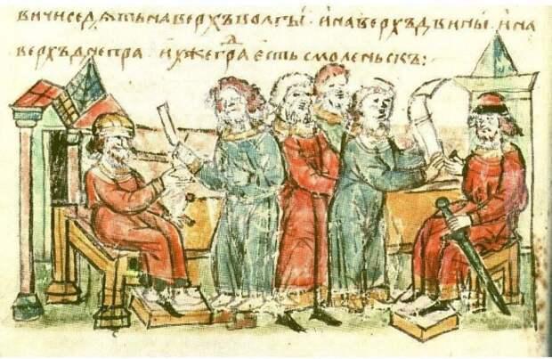 Миниатюра Радзивилловой летописи, предположительно изображающая прибытие в Смоленск посольства кривичей