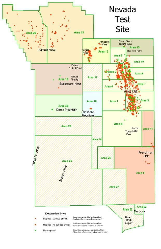 Карта испытательного полигона в Неваде с указанием мест произведенных ядерных взрывов. /Фото: wikiрedia.org