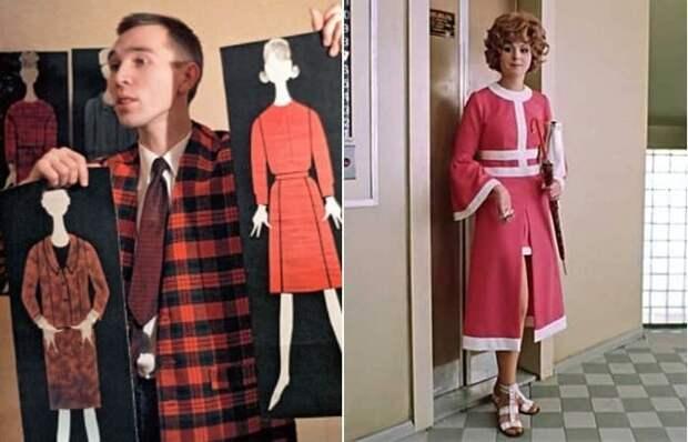 Начинающий модельер Вячеслав Зайцев и платье киногероини его дизайна | Фото: bigpicture.ru и russianroulette.eu