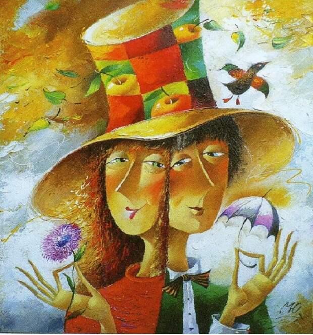 Добрый юмор и простое человеческое тепло на позитивных картинах романтика Юрия Мацика