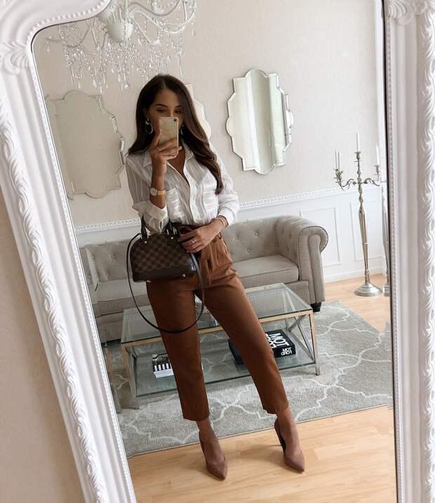 С чем носить коричневые брюки: 14 способов быть совершенной и модной леди