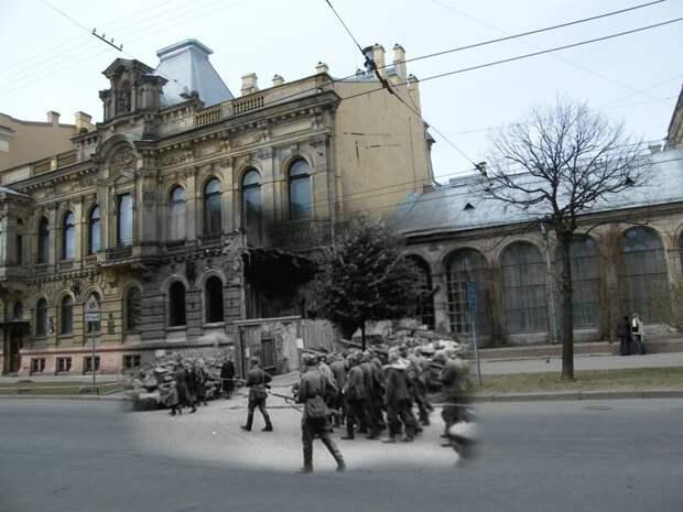 Ленинград 1942-2009 Чайковского 28 Особняк Кельха. Пленные гитлеровцы на улицах осажденного города летом 1942 блокада, ленинград, победа