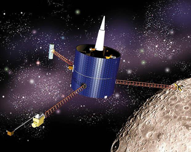 Исполнение артистом орбитального спутника Лунного разведчика, который доставил останки Сапожника на Луну.