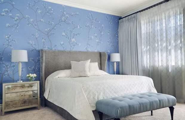 Голубые обои в спальне: как создать теплую и уютную обстановку (40 фото)