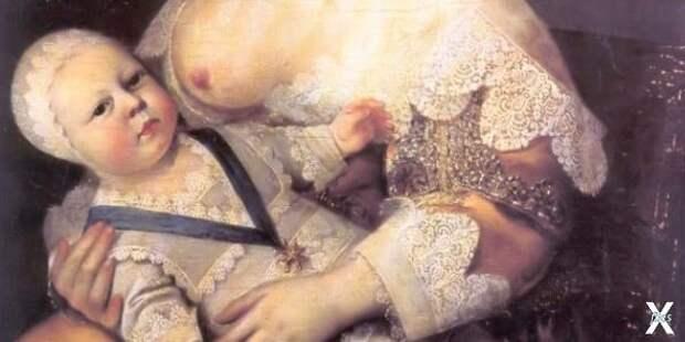 Людовик XIV на руках кормилицы леди Л...