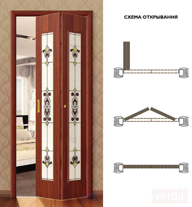 Монтаж складных межкомнатных дверей