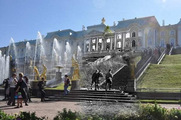 Петергоф 1943-2011 Лестница Большого каскада.Гитлеровские искусствоведы блокада, ленинград, победа