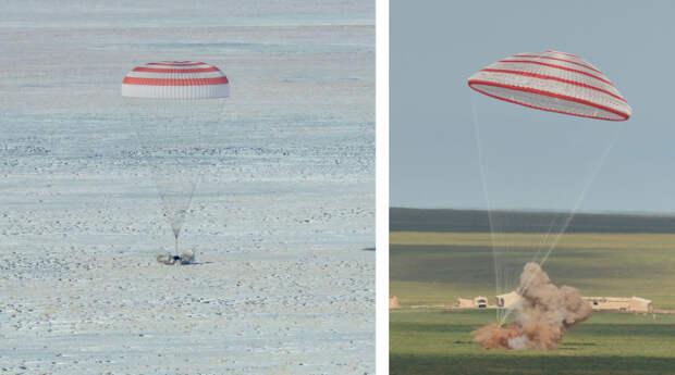 Момент срабатывания пороховых двигателей мягкой посадки кораблей «Союз МС» (слева) и «Шэньчжоу». Фото NASA (Bill Ingalls) и CNSA