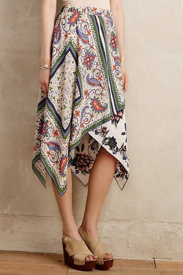 Летняя дачная юбка из двух платков