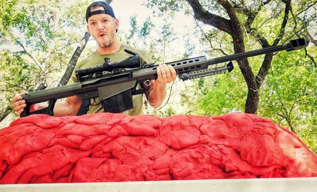 150 килограмм пластилина против снайперской винтовки: на видео сняли сколько сантиметров пробьет пуля
