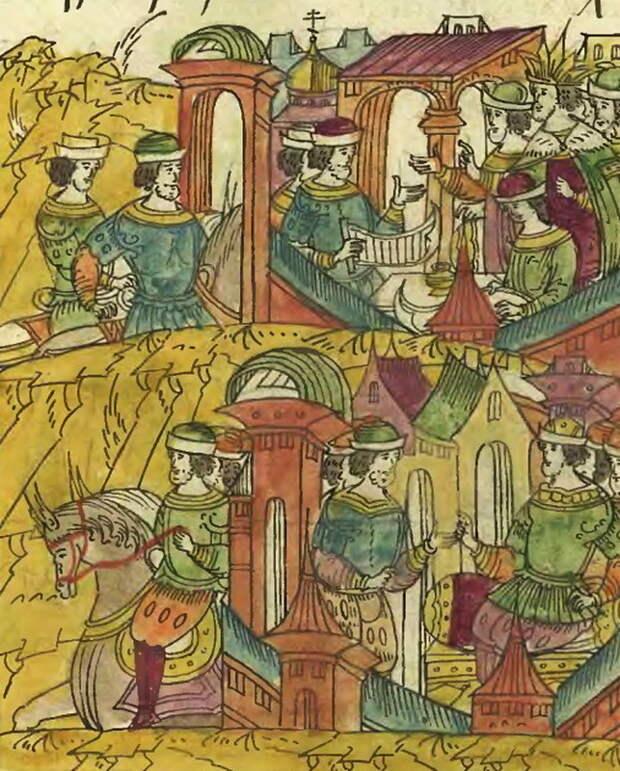 Гонец от датского короля получает от Ивана Грозного опасную грамоту для королевских послов. Миниатюра из Лицевого свода - Царская месть | Warspot.ru