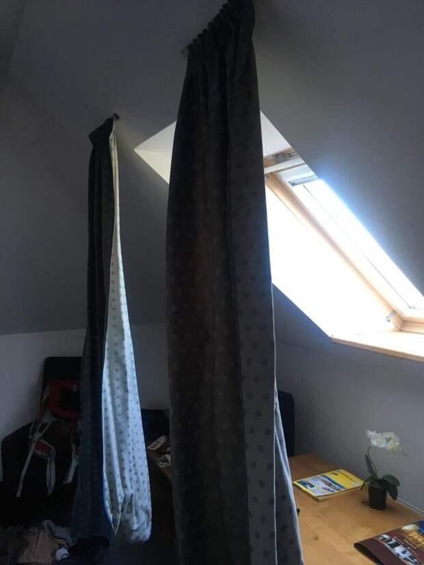 Мне помогли повесить шторы