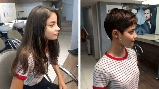 девушка до и после стрижки
