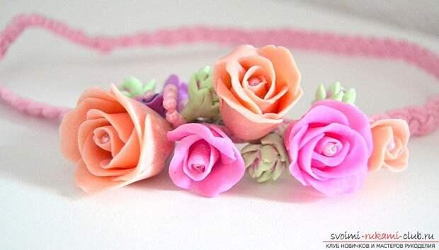 Ободки из полимерной глины с бутонами розм - мастер-класс и ободок с цветами. Фото №8