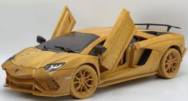 Из деревянного бруса сделали копию Lamborghini Aventador