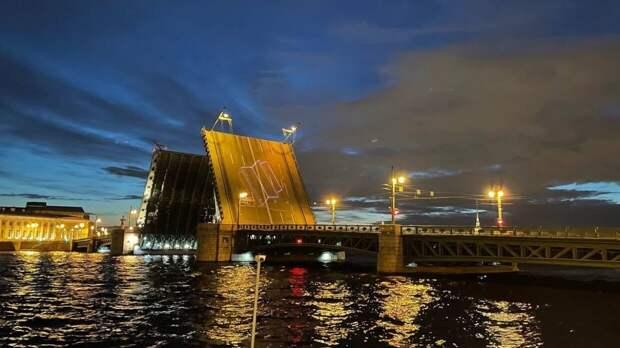 Разведенный Дворцовый мост украсят лазерными портретами Достоевского и Некрасова