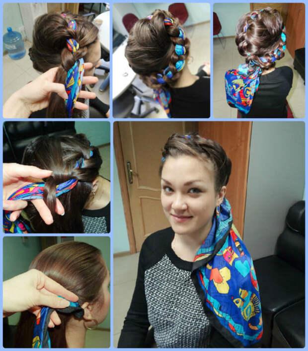 коса с платком вокруг головы
