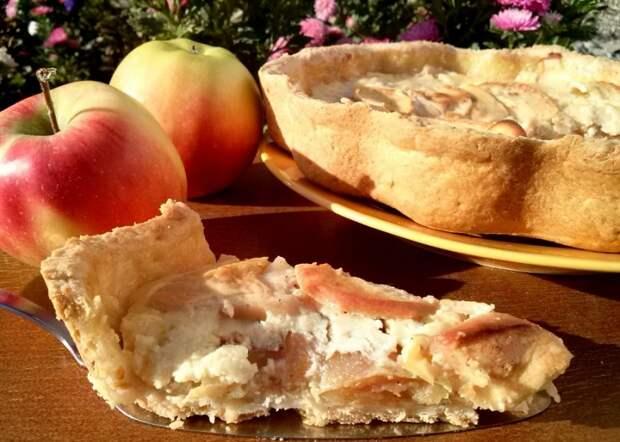 яблочный пирог неженка со сметанной заливкой